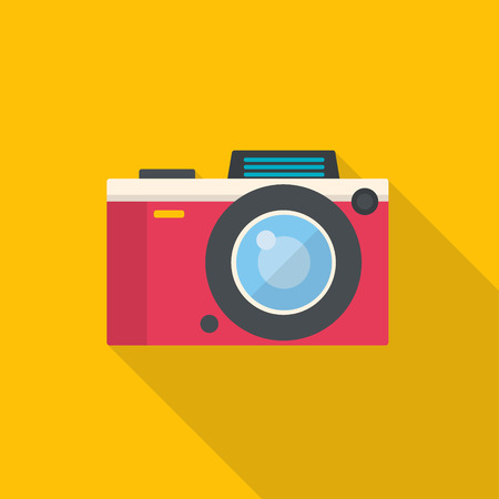 Flat style photo camera. Modern minimal flat design with long shadow. Vector illustration. Illustration