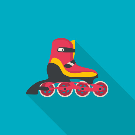 Roller skate vector.. Flat style with long shadow. Illustration.