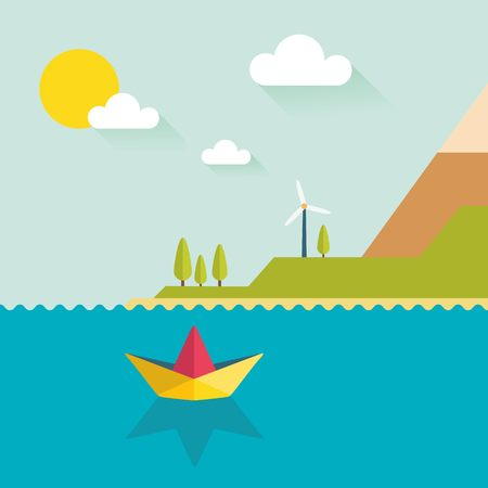 Origami paper boat in flat design with island. Summer vacation.