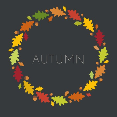 Autumn abstract leaf backdrop. Round frame. Vector illustration. Illustration