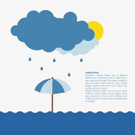 Umbrella in the rain. Flat design illustration.