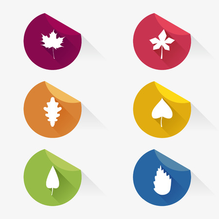 Autumn set of leaves stickers with long shadows. Flat design, vector illustration.