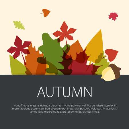 Colorful autumn leaves concept in flat design. Vector illustration.