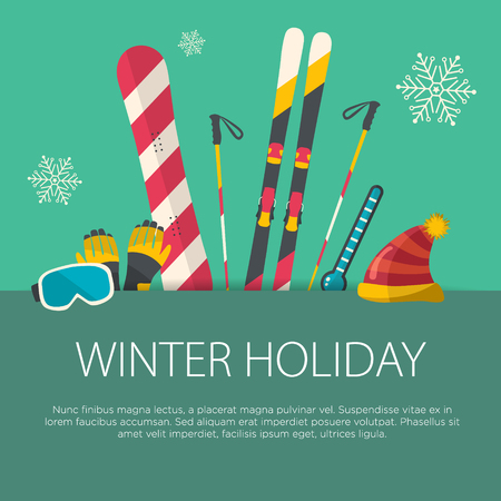 Flat design winter sport concept. Sports equipment background.