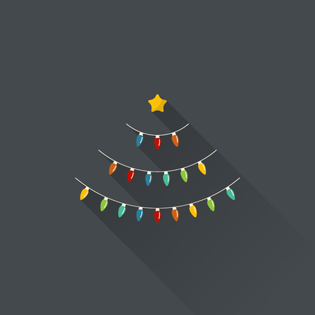 Christmas tree made of Christmas bulbs in flat design, vector illustration.