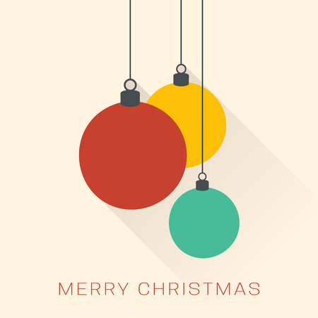 Christmas greeting card. Minimalistic christmas baubles. Flat design. Illustration