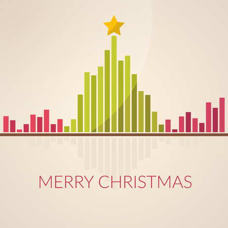 Music waveform as christmas tree. Sound of Christmas. Flat design.