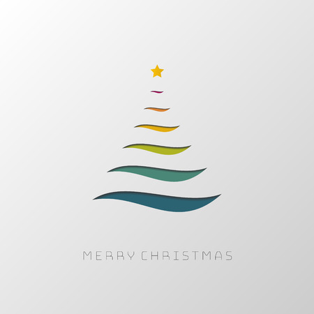 Abstract stylized Christmas tree made by lines. Flat design.