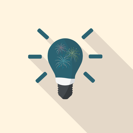 Fireworks in light-bulb, flat design with long shadow. Illustration