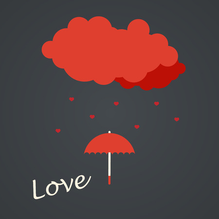 Romantic card with cloud and rain of hearts. Flat design. Illustration