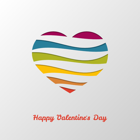 Color wave heart. Happy Valentines day. Vector Illustration. Illustration