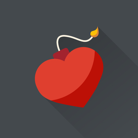 Heart like a bomb. Explosion heart with fire. Danger. Vector illustration. Flat design. Valentine.