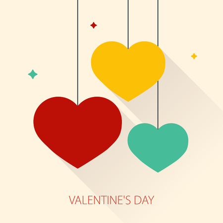 Happy valentines day card with flat hanging hearts. Illustration