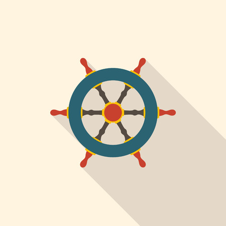 Rudder in flat design. Pirate symbol. Vector illustration. Illustration