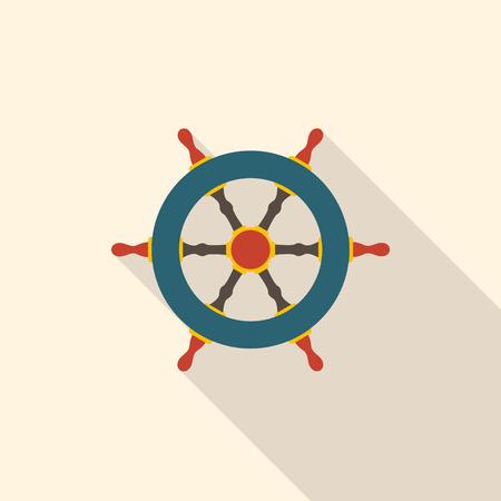Rudder in flat design. Pirate symbol. Vector illustration. Illustration