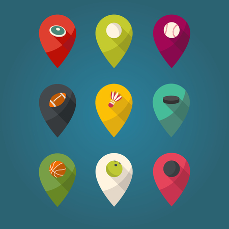 Sports pointer in flat design. Sports balls. Vector marks.