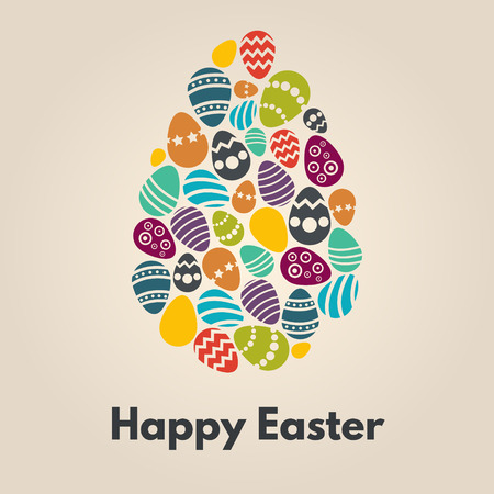 Happy easter greeting card with egg on background. Illustration