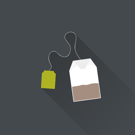 Black tea bag in flat style. Vector Illustration.