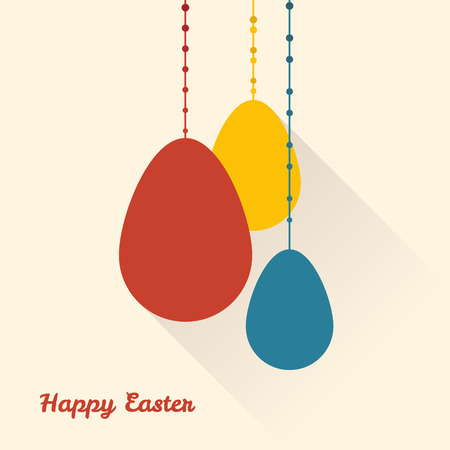 Hanging easter eggs flat style Vector illustration  Easter holidays.
