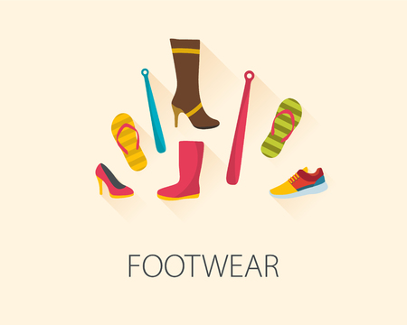 simplified: Set of fashion shoes and accessories. Flat design vector style. Illustration