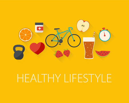 Healthy lifestyle concept. Food and sport. Flat design. Illustration