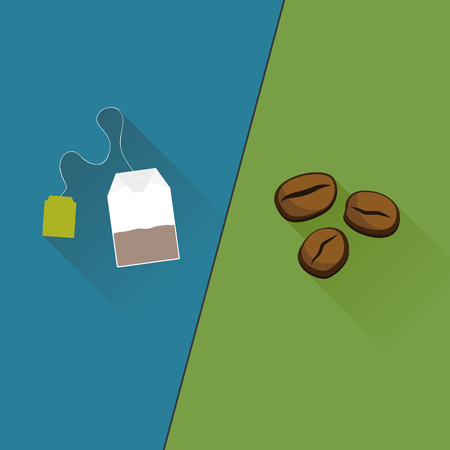 Tea vs Coffee flat design. Vector illustration.
