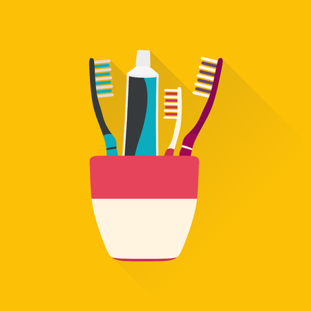Toothpaste tubes and toothbrushs. Hygiene and cleaning teeth. Vector illustration.