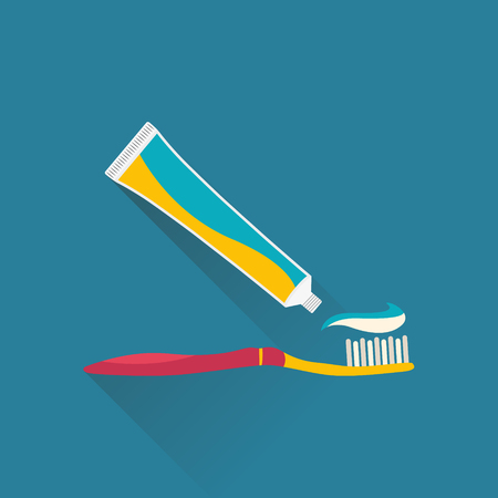 Tube of toothpaste and toothbrush. Teeth care concept. Vector flat illustration. Illustration
