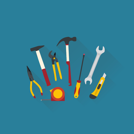 Repair and construction tools. Flat design vector illustration. Illustration