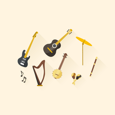 Flat design musical instruments. Vector illustration. Illustration