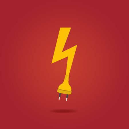 Lightning Bolt . Electricity charge sign. Vector template.