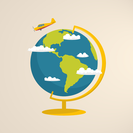 Globo del mondo con nuvole e aeroplano.