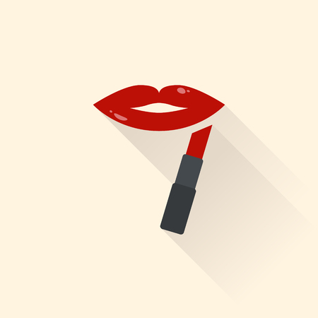 Female lips with red lipstick. Flat design.