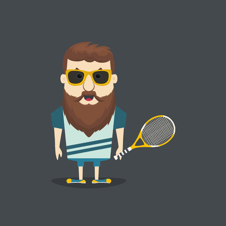 Vector illustration of tennis player. Flat design.