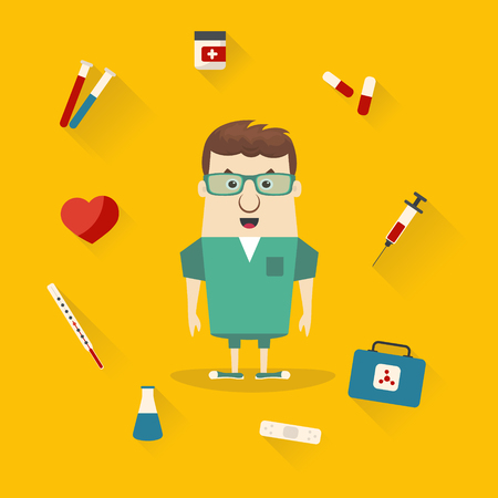 Vector illustration of doctor with medical icons. Flat design. Illustration