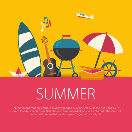 Summer Holidays flat design. Road trip. Summer vacation concept.