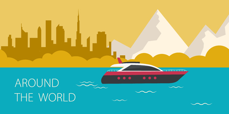 Travel around the world. Cruise ship. Travel Banner.