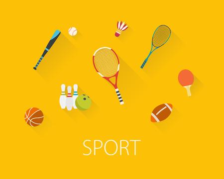 Vlak ontwerp sport concept. Sportuitrusting achtergrond.
