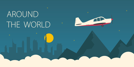 Around the world flat illustration. Plane flying around the world. Illustration