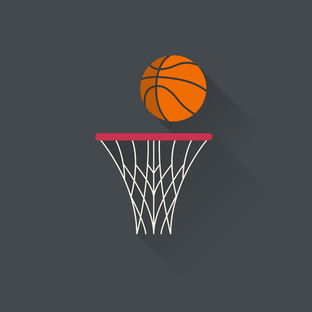 Basketball basket with a ball. Basketball net. Sport design. Illustration