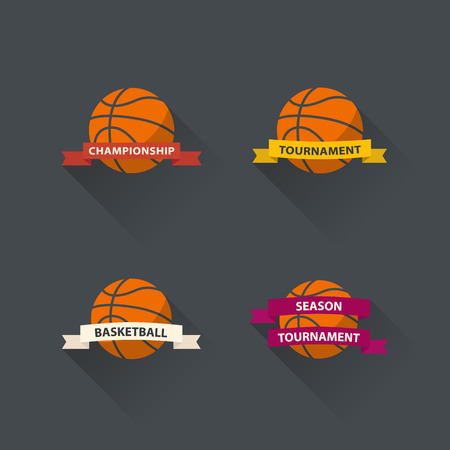 Set of basketball graphic icons flat design. Illustration