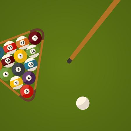Billiard green table and balls top view. Sport flat design theme.