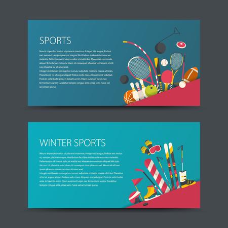 Set of vector sport banners. Flat design sport concept. Sports summer and winter equipment.