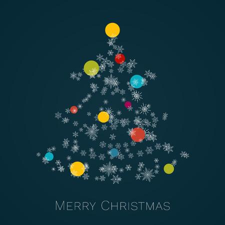 Kerstboom gemaakt van sneeuwvlokken met kleurrijke kerstballen. Vrolijke kerstkaart.