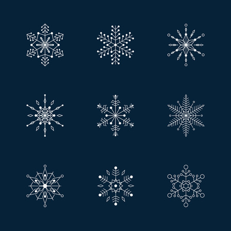 Snowflake vector icon background set. Illustration