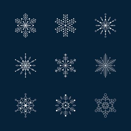 Sneeuwvlok vector pictogram achtergrond instellen. Stock Illustratie