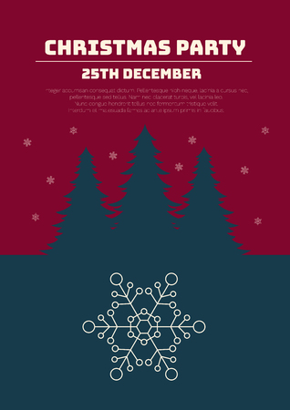 Christmas party invitation. Christmas holidays flyer or poster. Vector illustration.