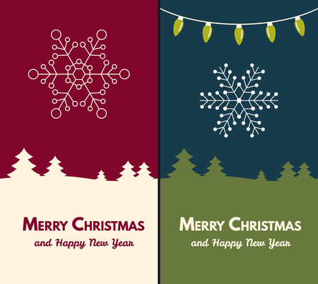 Christmas and New Year Vector greeting card with snowflake.