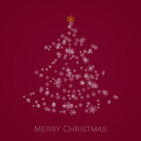 Christmas tree made of snowflakes. Merry Christmas card.