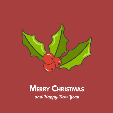 Christmas holly berry leaves. Vector illustration. Illustration